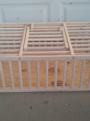 wooden crate for chickens and rabbits.