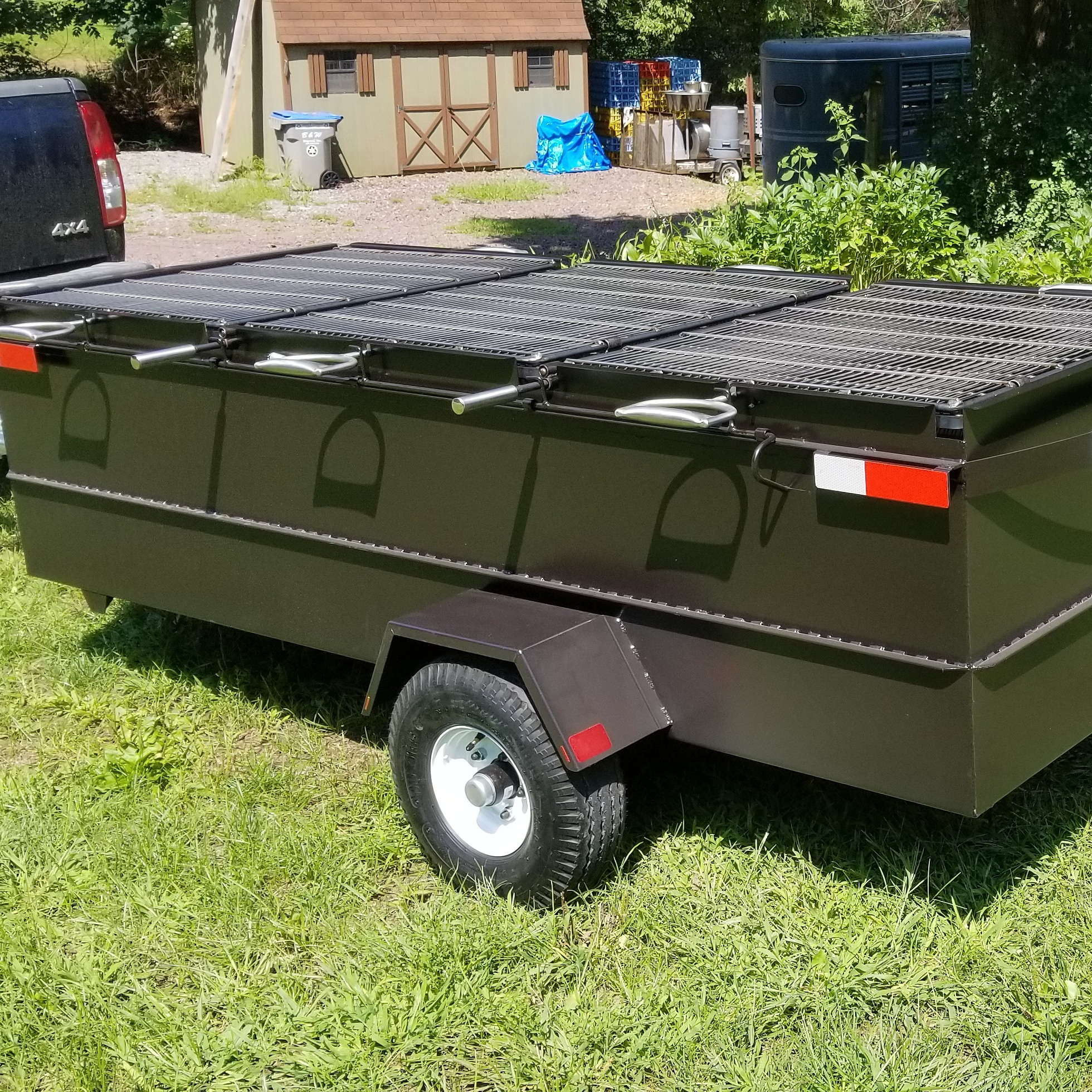 Charcoal Chicken Grill with Wheels and Hitch